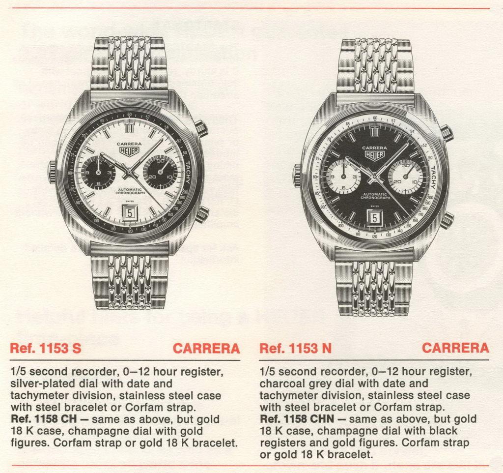 1970 / 70 Heuer Catalog -- Ref 1153 Carreras