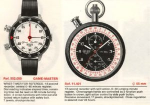 Heuer Catalog 1970 / 71 -- Special Stopwatches