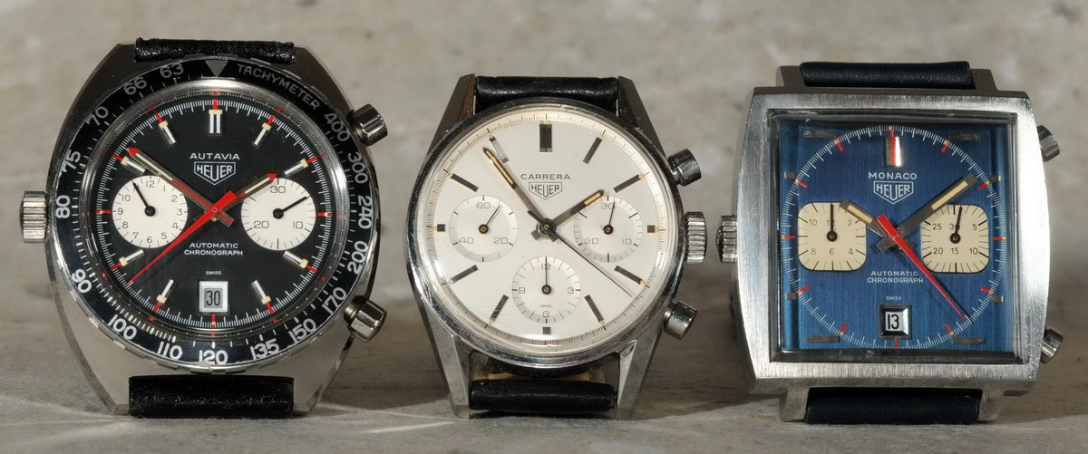 "Heuer's ""Big Three"" -- Among the most common executions of these models are the ""Viceroy"" Autavia (1972), the Reference 2447S Carrera (circa 1963), and the ""Steve McQueen"" Monaco (circa 1970)"