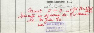 Le Mans Invoice -- Carnet