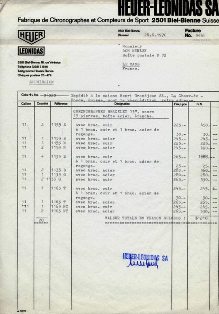 Le Mans Invoice (Page 1)
