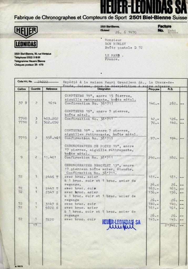 Le Mans Invoice (Page 2)