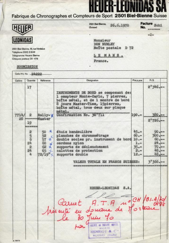 Le Mans Invoice (Page 3)